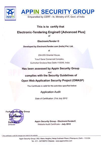 ElectronicTender com - Validation/ Testing